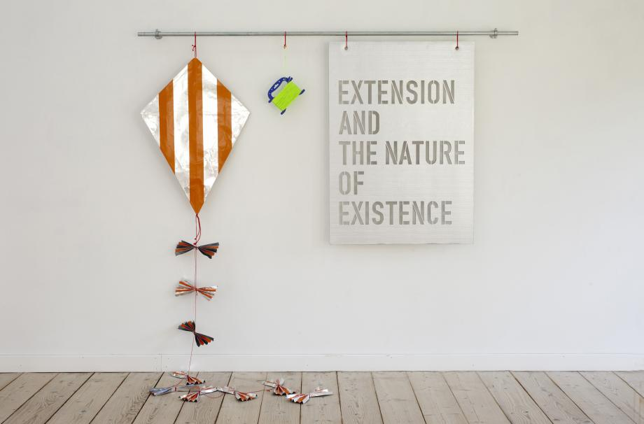 EXTENSION AND THE NATURE OF EXISTENCE, 2014. ALUMINIUM, TAPE, WOOD, CARDBOARD, CORD AND IRON TUBE.